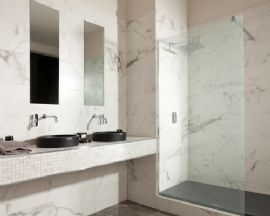 Naxos A Porcelain Carrara Marble Effect Wall And Floor Tile This Tile Is Suitable For Bathrooms And Kitchen And Has A Semi Gloss Finish