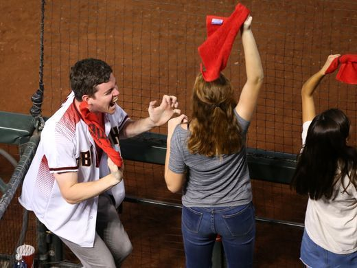 Arizona Diamondbacks: Fan photos from 2017 playoffs   -   Diamondbacks fans cheer after a Diamondbacks score in the second inning during the National League Wild Card game against the Rockies at Chase Field in Phoenix on Wednesday, October 4, 2017.  David Wallace/azcentral sports