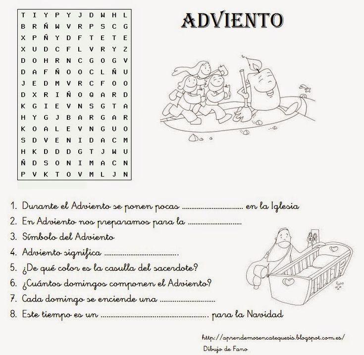 Fichas, pasatiempos, explicaciones sencillas sobre Adviento para niños:              Fuente: elrincondelasmelli                      ...