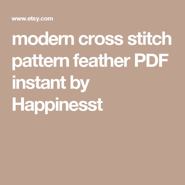 modern cross stitch pattern feather PDF   instant by Happinesst