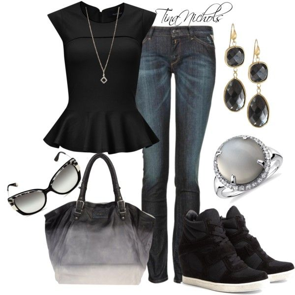 A fashion look from April 2013 featuring French Connection blouses, Replay jeans and Ash sneakers. Browse and shop related looks.