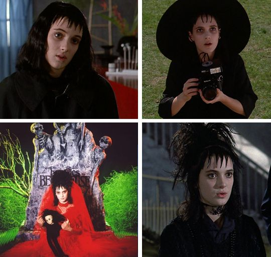 "Lydia Deetz from Beetlejuice: You'll need black hair with wet-gelled bangs, white foundation make-up and black eyeliner, a black (or red) lace wedding dress, a 35mm camera, and bonus points for a homemade ""Handbook for the Recently Dead."""