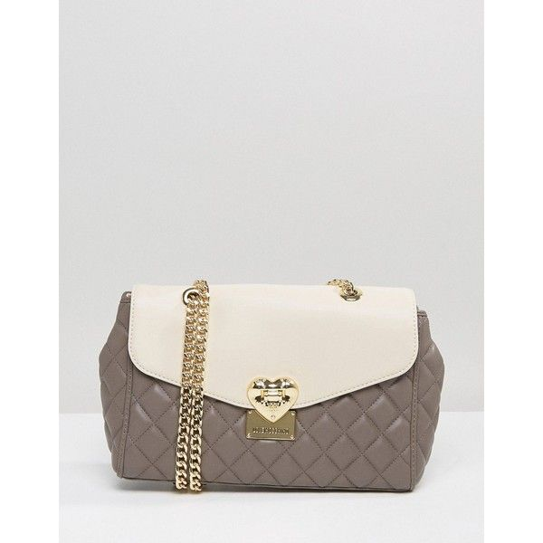 Love Moschino Quilted Shoulder Bag (296 CAD) ❤ liked on Polyvore featuring bags, handbags, shoulder bags, grey, quilted leather shoulder bag, faux leather handbags, grey shoulder bag, leather purses and grey leather purse
