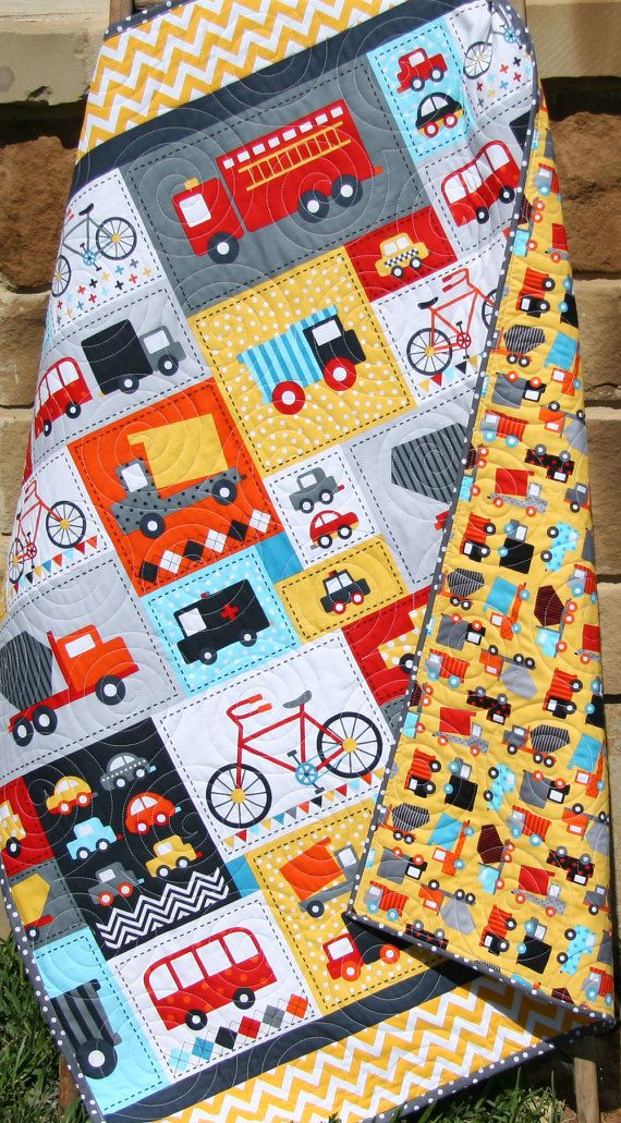 Baby Boy Quilt Toddler Bedding Car Vehicles Trucks Cars Bikes Buses Dump Truck Grey Gray Blue Red Yellow Ready Set Go Ambulance Fire Truck by SunnysideDesigns2