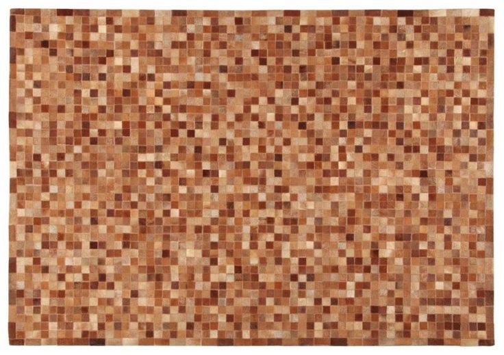 LEATHER PATCHWORK MOSAIC BROWN RUG - Brand News 2017 in 100% pure selected cowhide