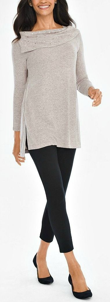 Long shawl collar top with thick black leggings