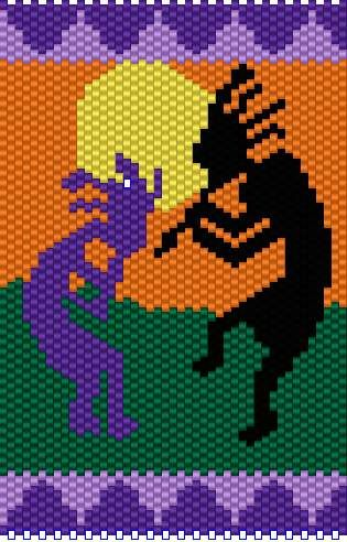 Inspiration: Kokopelli peyote bead PATTERN. Note to self ... this would make a lovely amulet bag in blues, black, and cream