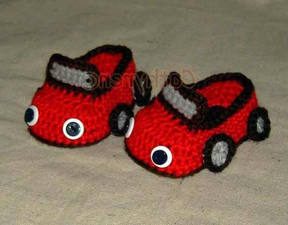 Baby Boy Sports Car Booties -Downloadable Crochet Pattern on Etsy, $3.99