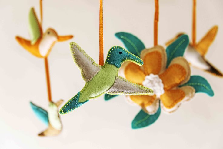 Tropical Hummingbird Mobile made from 100% wool felt £90 from www.morrowlandcreations.co.uk #morrowlandcreations #Tropical #Nursery #Baby