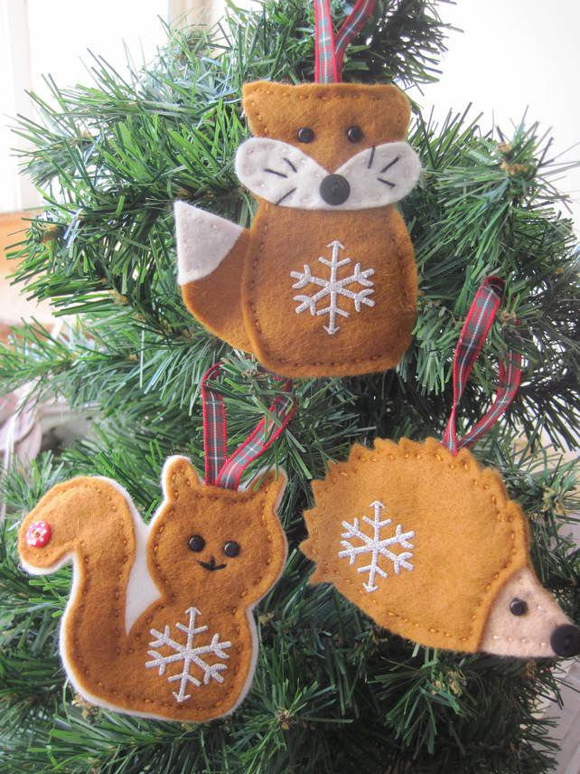 Woodland Christmas felt decoration - fox squirrel or ...