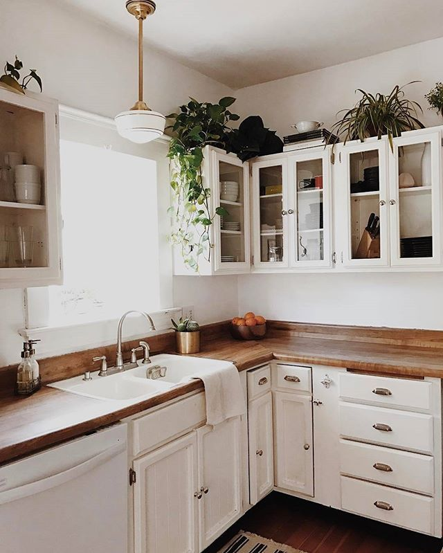 Yes to this pleasant kitchen scene #unionpendant #brassplanter #schoolhouseelectric (via @branchabode) / shop this fixture + shade + planter - link in profile