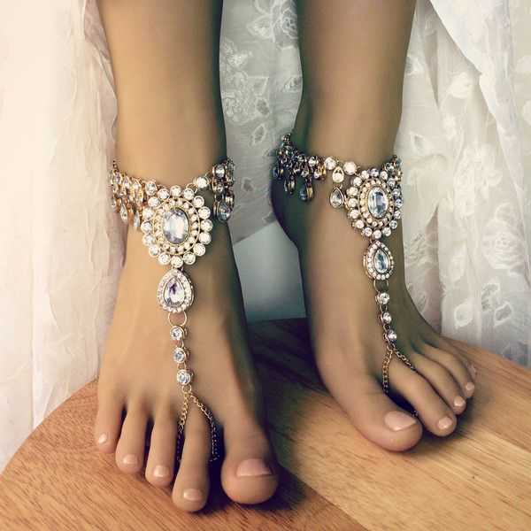 Starla Barefoot Sandals Beach Wedding Jewelry Foot Jewelry Bohemian... ($110) ❤ liked on Polyvore featuring jewelry, rhinestone jewelry, bohemian wedding jewelry, boho jewelry, bridal jewelry and handcrafted jewellery