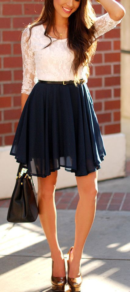 I'd prefer the skirt to be a bit longer but overall a very cute outfit.