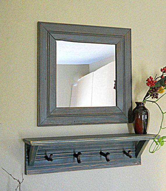 Entryway Mirror Shelf Coat Rack Rustic Farmhouse Decor