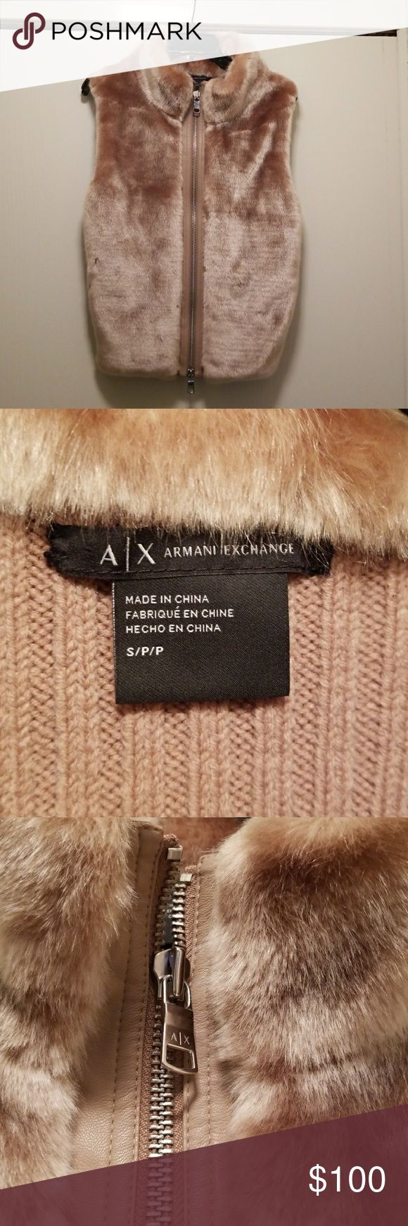 A/X Armani Exchange Faux Fur Vest Size Small Guc no damage or stains.  This vest is so stylish and soft. The zipper is lined with leather and has a top down bottom up zipper. The back is a sweater material.                                                 Armpit to armpit is 20 in. Length 25 in Armani Exchange Jackets & Coats Vests