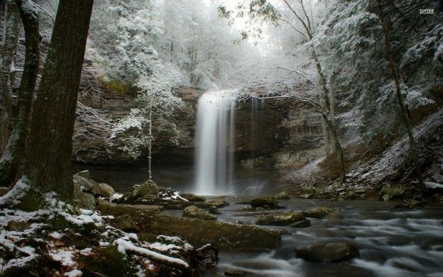 Waterfall Forest Rocks Winter wallpapers and stock photos