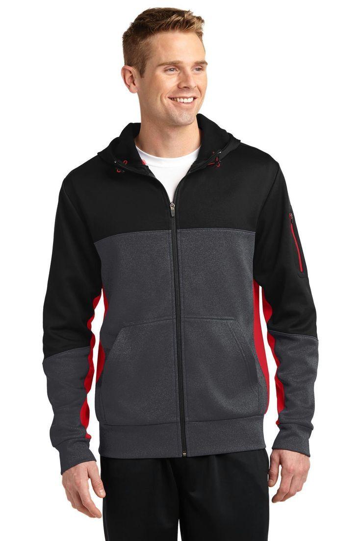 Sport-Tek Tech Fleece Colorblock Full-Zip Hooded Jacket. ST245