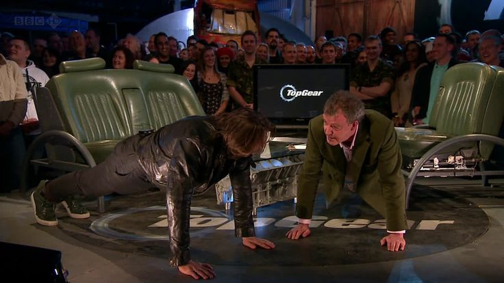 Jeremy Clarkson and Jonathan Ross do a fitness demonstration on Top Gear