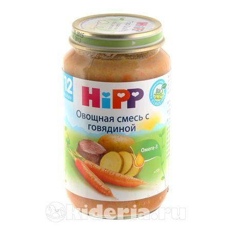 Hipp Овощная смесь с говядиной пюре, с 12 мес  — 129р. --------- Пюре HIPP Овощная смесь с говядиной - это пюре из нежной говядины, моркови и картофеля. Говядина является ценным источником железа и белка. Белок необходим для построения новых клеток и тканей, он участвует в синтезе антител, защищающих ребенка от микроорганизмов и вирусов. Кроме того, он является составной частью многих гормонов и ферментов. Белок способствует повышению уровня гемоглобина в крови, так как необходим для его…