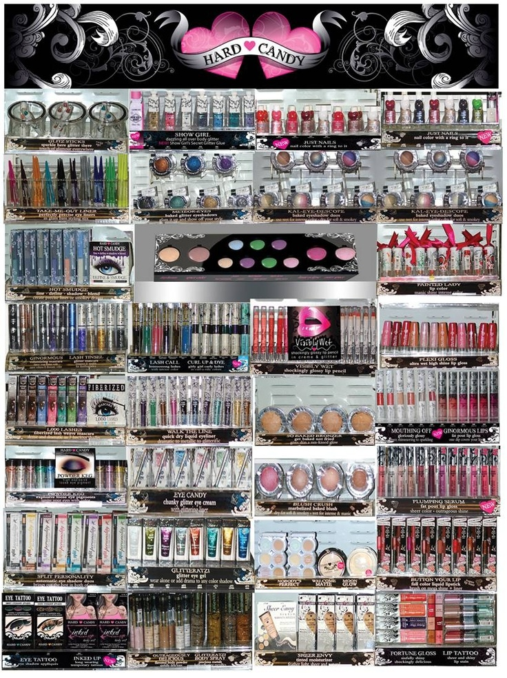 Hard Candy Makeup -my new favorite makeup line at Walmart.  Great for trying new and crazy trends, like brightly colored mascaras and liners, anything glitter or shimmer, etc...