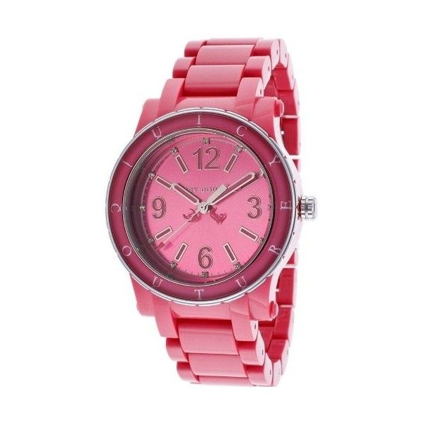 Juicy Couture Pink Dial Ladies Watch ($141) ❤ liked on Polyvore featuring jewelry, watches, juicy couture jewellery, pink-face watches, water resistant watches, bezel watches and round watches