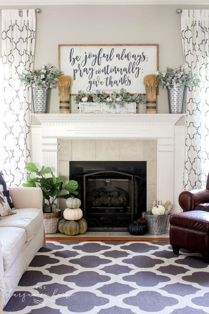 Simple Fall Mantel With A Farmhouse Sign Farmhouse Style Living