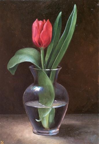 """Red Tulip in Glass Vase"" - Original Fine Art for Sale - © Patricia Coonrod"