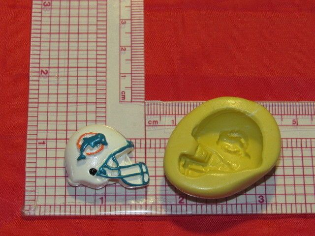 NFL Football Miami Dolphins Helmet Silicone Push Mold 355 Chocolate Candy Cake #LobsterTailMolds