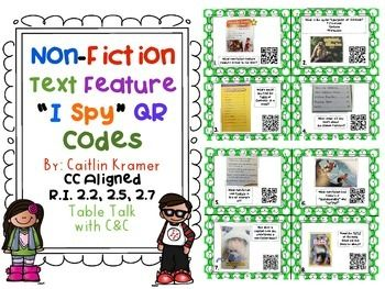 """This pack includes 28 task cards that help students review non-fiction text features.  There is a recording sheet for student responses.  Students can play """"I Spy"""" around the room with task cards and self-check their responses with a QR code reader. {Directions are included for """"I Spy"""" and how to use QR Codes}I took pictures of real non-fiction guided reading books to make the activity more authentic to what they would really see in a book."""