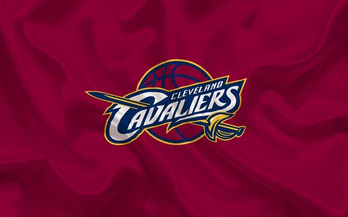 Lataa kuva Cleveland Cavaliers, Basketball club, NBA, USA, koripallo, Cleveland Cavaliers tunnus, logo, viininpunainen silkki