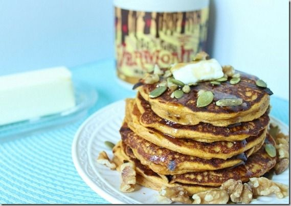 My sister in law made these pumpkin protein pancakes for me. They are seriously delicious. Try them.
