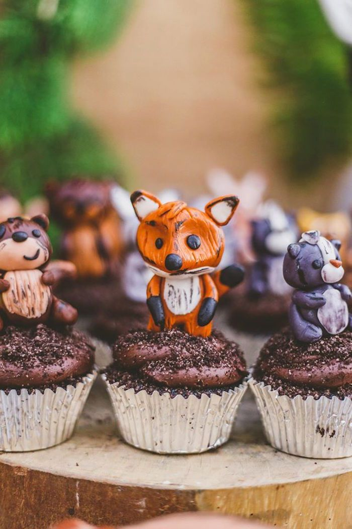 Woodland animal cupcakes from a starry nights campfires for Animal cake decoration ideas