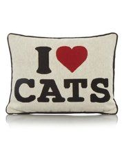 George Home I Love Cats Cushion  40x30cm