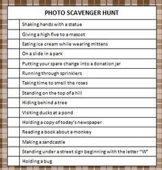 Photo Scavenger Hunt Free Printable