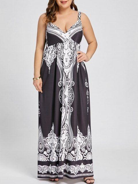 c6fd8df1d4f Arab Printed Plus Size Sleeveless Maxi Dress - BLACK 2XL