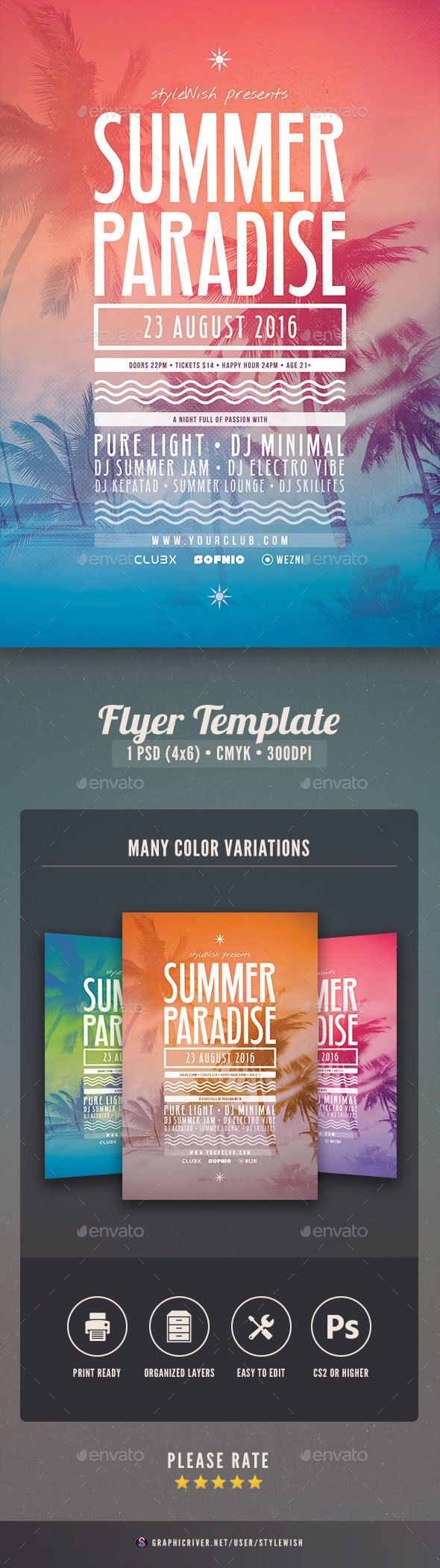 Summer Paradise Flyer Design Idea - Concerts Event Flyer Template PSD. Download here: http://graphicriver.net/item/summer-paradise-flyer/16473350?s_rank=442&ref=yinkira