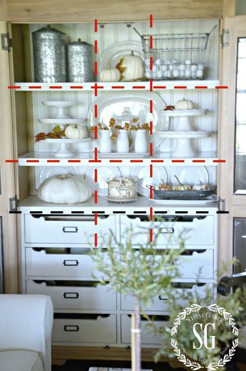 DESIGNER TRICKS FOR BEAUTIFULLY ARRANGED SHELVES- We can do this! -stonegableblog.com