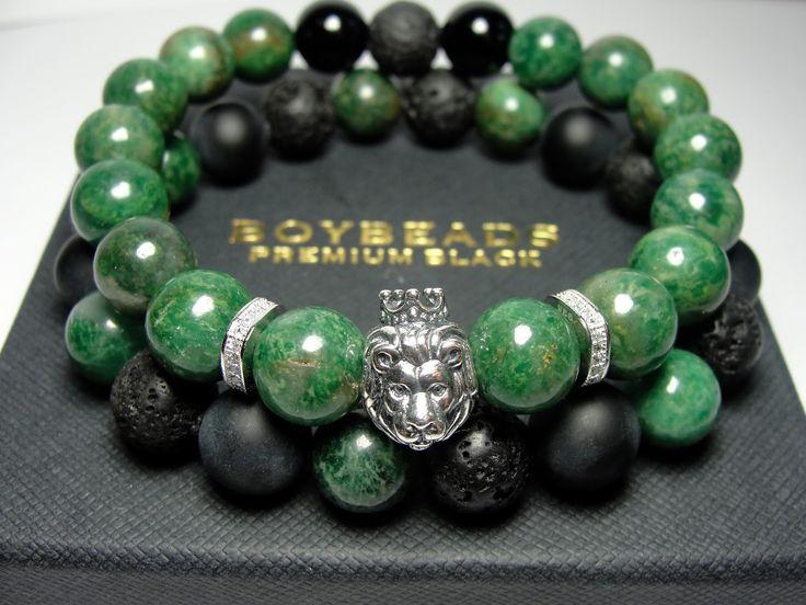 Edgar + Ernest BOYBEADS Green African Jade Sterling Silver Crowned Lion Beaded Bracelet Gift Set for Men