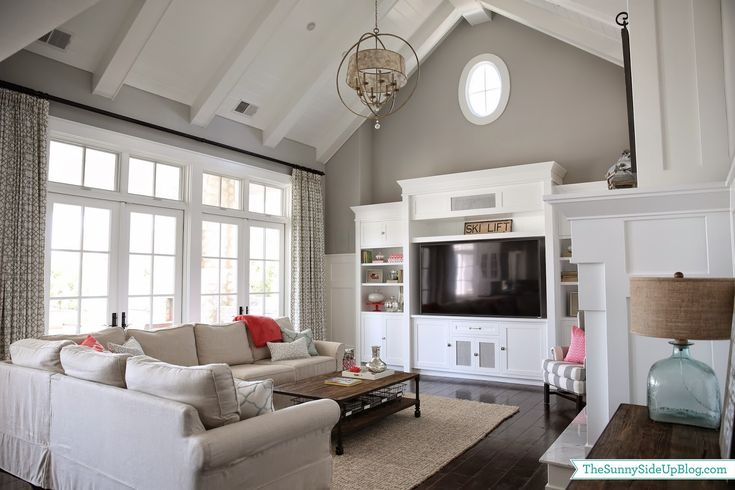 Paint color: Seattle by Frazee - Love the windows/doors, the ceilings & the built-ins! =)