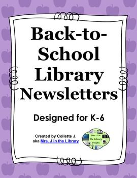 Back to School Library Newsletters & Parent Communication - Promote your school library resources to parents and advocate for your library program with this 20-page collection of printable newsletters and reminders.