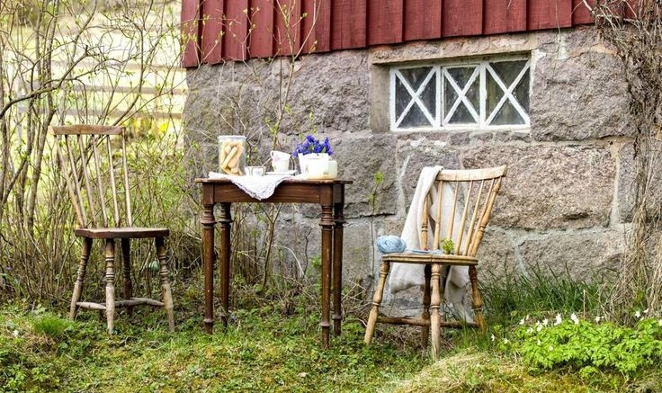 IMPROVISERT HAGEKOS: Lev Landlig viser hvordan man nyter varmt vær og tidlig vår med improvisert kaffebord. Hagemøblene er ikke funnet frem, så her kommer pinnestolene ut. Med et par kopper og blondeduk blir det et fint lite teselskap.