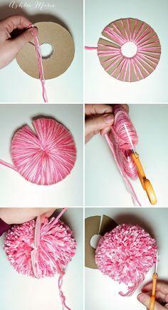 Ashlee Marie: How to make an extra EXTRA large yarn pom pom