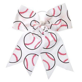 Baseball Cheer Bow Ponytail Holder