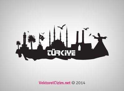 Vektörel Çizim   Türkiye Şehirleri Silüeti