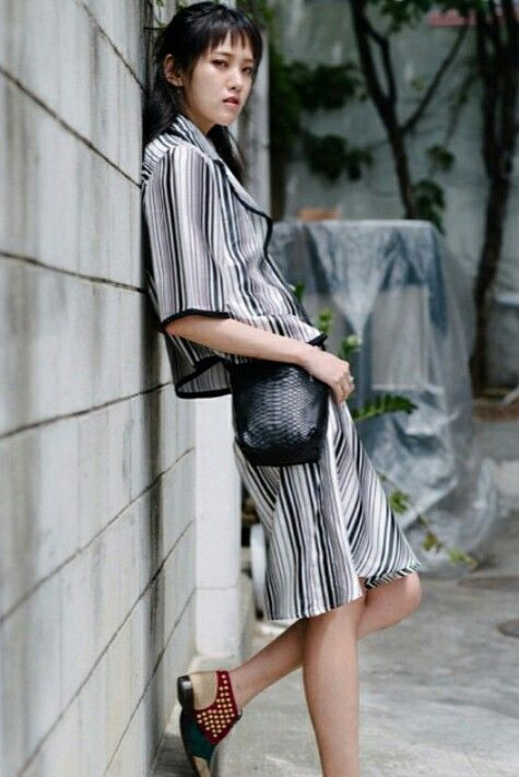 Korean model - Hae Nam Shin wearing Bobababe stripes set  www.bobababe.com