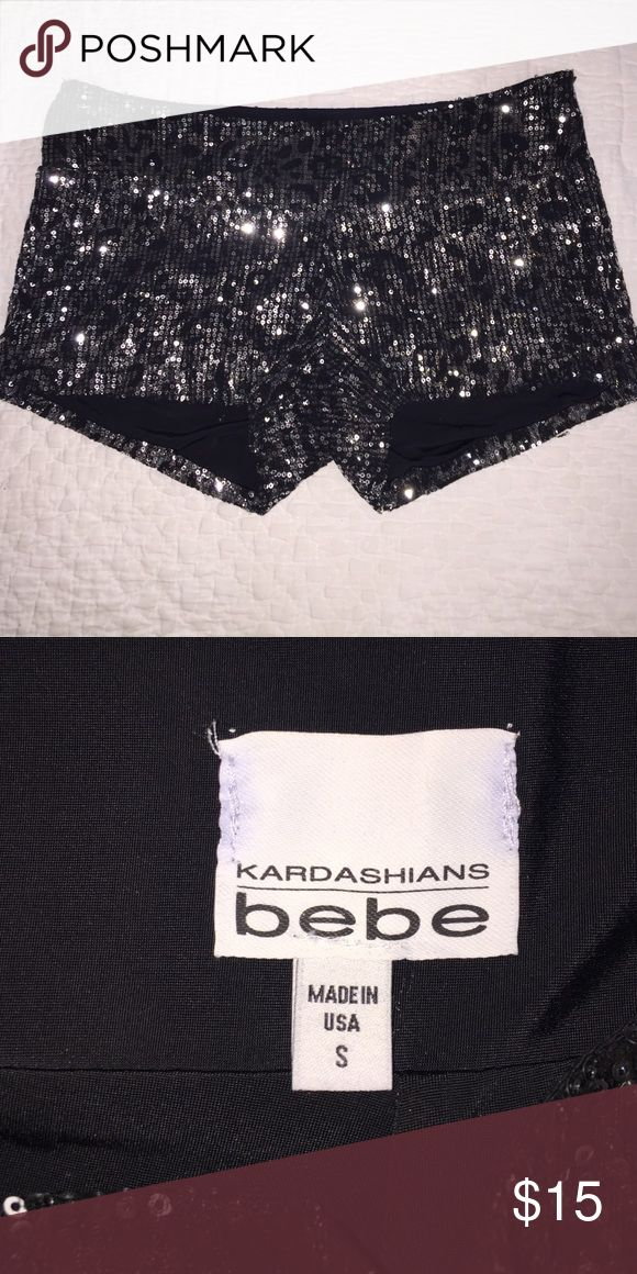 Sequin leopard print shorts. Silver sequins on black shorts. Size: small. Side zip. Kardashians by bebe bebe Shorts