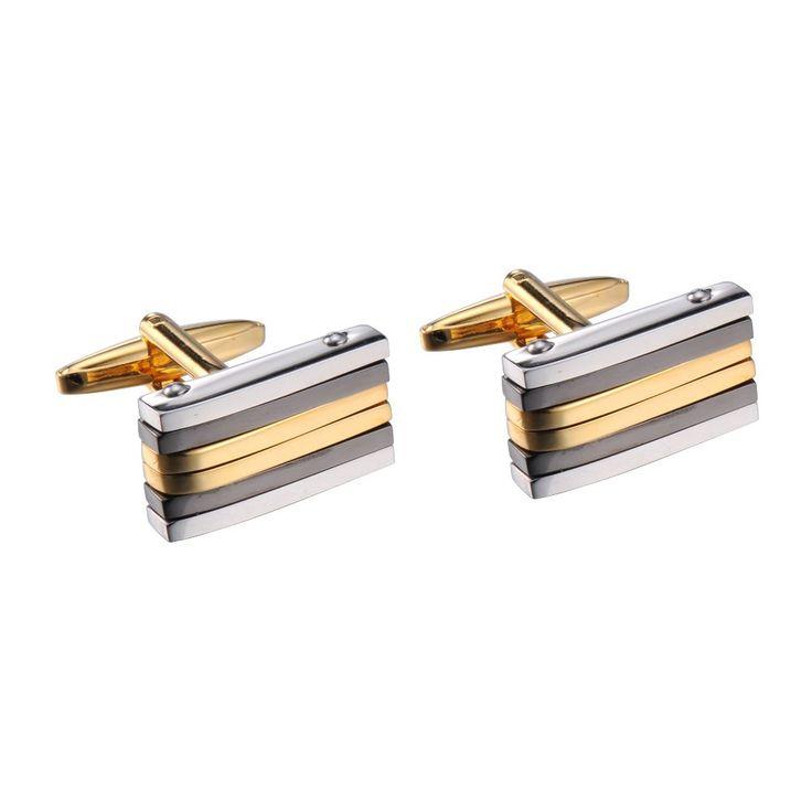 R&B Schmuck Herren Manschettenknöpfe Edelstahl - Metallic, Modernes Design (Gold, Silber, Grau): 17,90€