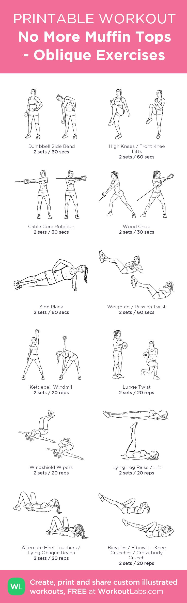No More Muffin Tops - Oblique Exercises: my visual workout created at WorkoutLabs.com • Click through to customize and download as a FREE PDF! #customworkout