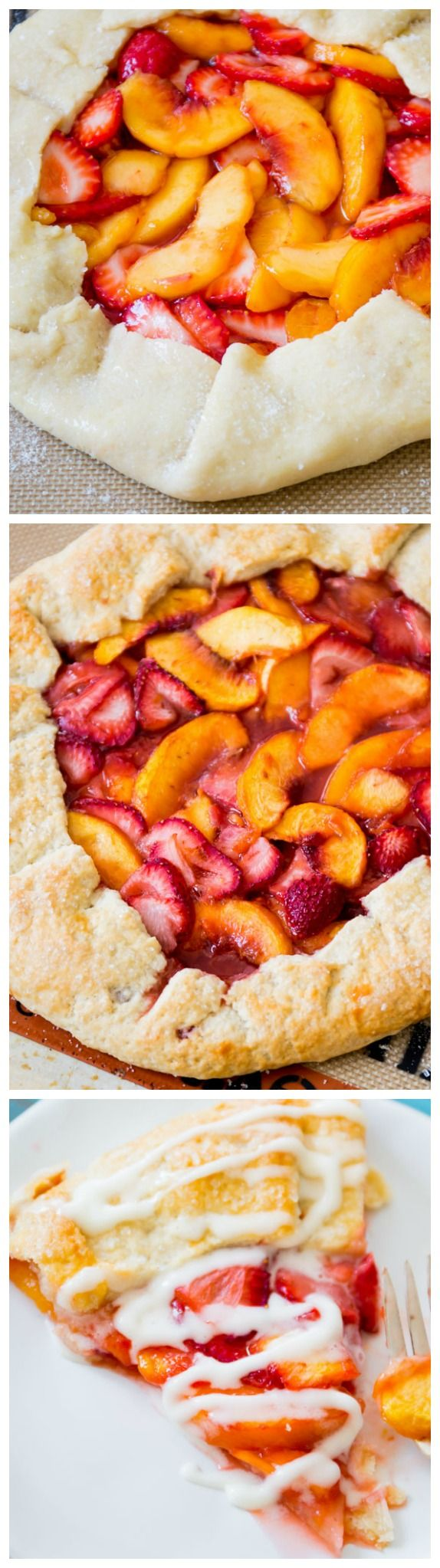 Rustic Strawberry Peach Tart Recipe. Classic Rustic Strawberry Peach Galette Recipe using Summer's Finest Juicy Fruits. #Sweet #Juicy #Fruits #Rustic #Strawberry #Peach #Tart #Galette #Recipes