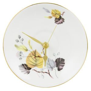 Yellow Leaf Vintage Saucer Wall Clock available from #NOTHS